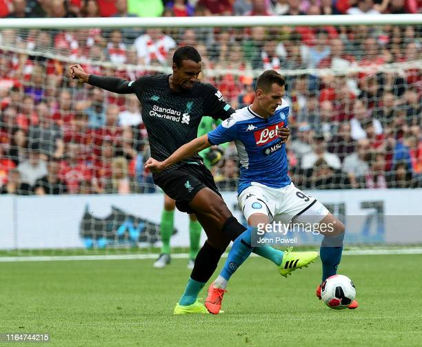 Joel Matip of Liverpool with Arek Milik of SSC Napoli during the PreSeason Friendly match between Liverpool FC and SSC Napoli at Murrayfield on July...