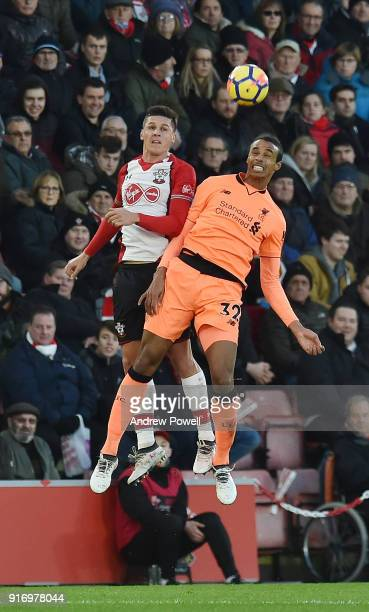 Joel Matip of Liverpool with Guido Carrillo of Southampton during the Premier League match between Southampton and Liverpool at St Mary's Stadium on...