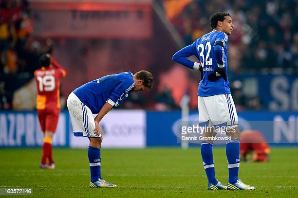 Joel Matip of Schalke looks dejected after the UEFA Champions League round of 16 second leg match between Schalke 04 and Galatasaray AS at...
