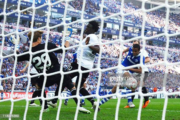 Joel Matip of Schalke misses to score during the Bundesliga match between FC Schalke 04 and 1. FC Kaiserslautern at Veltins Arena on April 23, 2011...