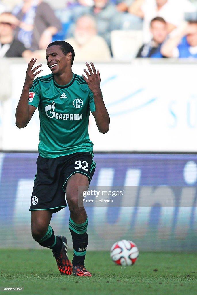 Joel Matip of Schalke reacts during the Bundesliga match between 1899 Hoffenheim and FC Schalke 04 at Wirsol Rhein-Neckar-Arena on October 4, 2014 in Sinsheim, Germany.