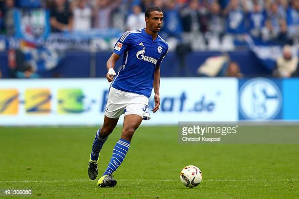 Joel Matip of Schalke runs with the ball during the Bundesliga match between FC Schalke 04 and 1 FC Koeln at VeltinsArena on October 4 2015 in...