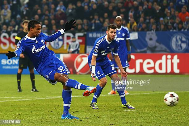 Joel Matip of Schalke scores his sides second goal during the UEFA Champions League Group E match between FC Schalke 04 and FC Basel 1893 at the...