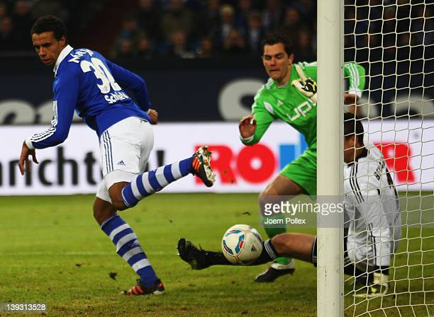 Joel Matip of Schalke scores his team's third goal during the Bundesliga match between FC Schalke 04 and VfL Wolfsburg at Veltins Arena on February...