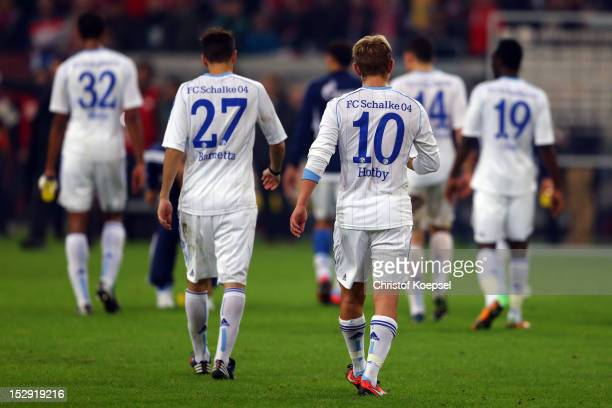 Joel Matip, Tranquillo Barnetta, Lewis Holtby and Chinedu Obasi of Schalke dejected after the Bundesliga match between Fortuna Duesseldorf and FC...