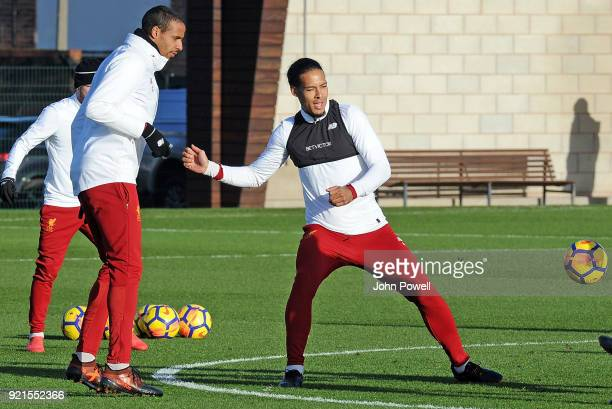 LIVERPOOL ENGLAND FEBRUARY 20 Joel Matip with Virgil van Dijk of Liverpool during a training session at Melwood Training Ground on February 20 2018...