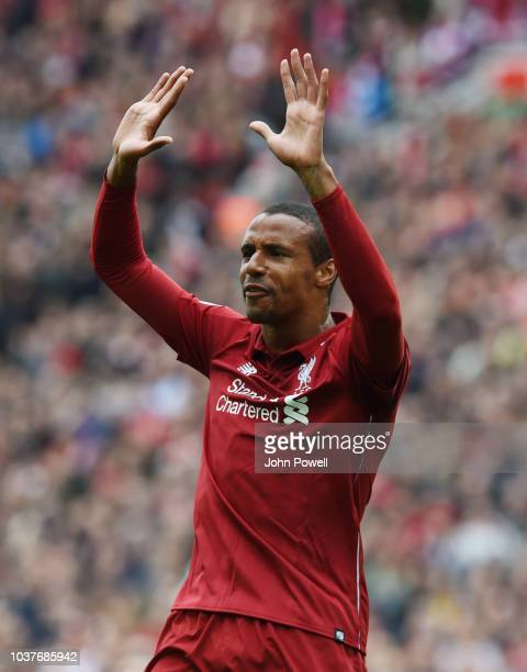 Joel Matipof Liverpool scores the second and celebrates during the Premier League match between Liverpool FC and Southampton FC at Anfield on...