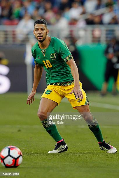 Joel McAnuff of Jamaica goes for the ball during a group C match between Uruguay and Jamaica at Levi's Stadium as part of Copa America Centenario US...