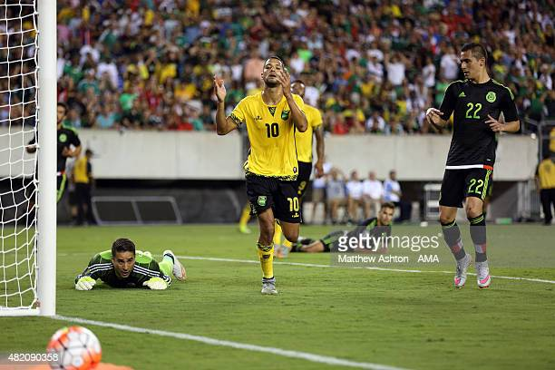 Joel McAnuff of Jamaica reacts after missing a chance to score in the first half during the 2015 CONCACAF Gold Cup Final match between Jamaica and...