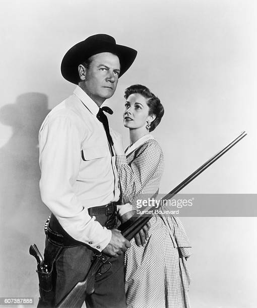 Joel McCrea and Vera Miles on the movie set of 'Wichita' directed by Jacques Tourneur