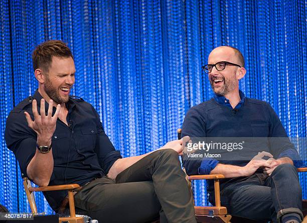 Joel McHale and Jim Rash attend The Paley Center For Media's PaleyFest 2014 Honoring 'Community' at Dolby Theatre on March 26 2014 in Hollywood...