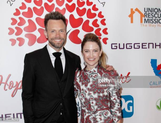 Joel McHale and Sarah Williams attend The Hearts For Hope Gala Benefiting Union Rescue Mission at The Beverly Hilton Hotel on February 16 2019 in...