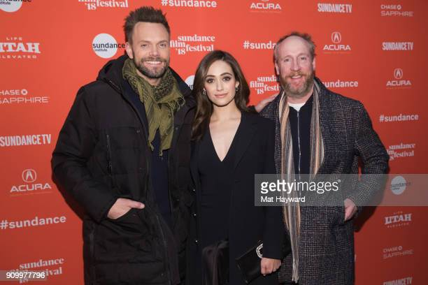 Joel McHale Emmy Rossum and Matt Walsh attend the 2018 Sundance Film Festival premiere of Netflixs film A Futile And Stupid Gesture at Eccles Center...