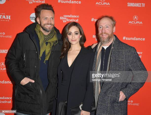 Joel McHale Emmy Rossum and Matt Walsh attend the 'A Futile And Stupid Gesture' Premiere during the 2018 Sundance Film Festival at Eccles Center...