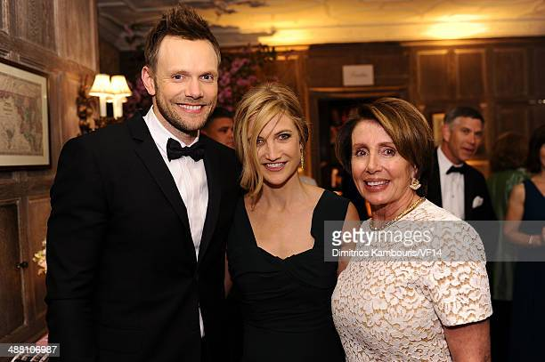 Joel McHale Sarah Williams and Congresswoman Nancy Pelosi attend the Bloomberg Vanity Fair cocktail reception following the 2014 WHCA Dinner at Villa...
