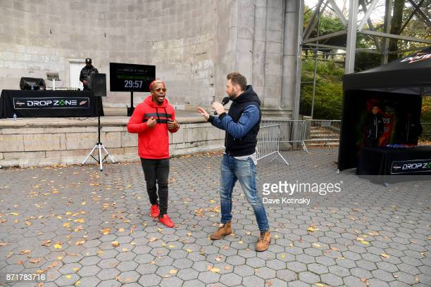 Joel McHale speaks with DJ Hollywood while hosting Mtn Dew Doritos and Xbox Drop Zone the first of this weekend's nationwide augmented reality...