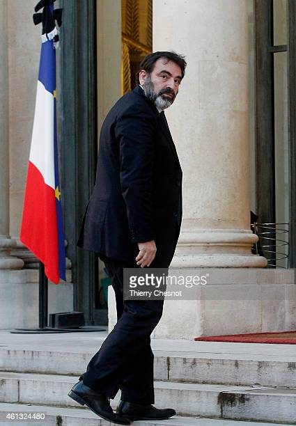 Joel Mergui president of the Central Jewish Consistory of France arrives at the Elysee Palace for a meeting between France's Jewish associations and...