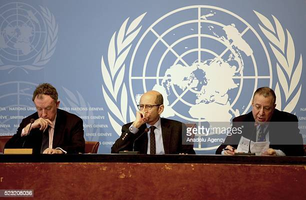 Joel Millman the spokesperson for the International Organization for Migration attends a press conference at the UN's Geneva office in Geneva...