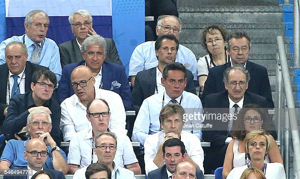 Joel Muller Aime Jacquet Bernard Caiazzo Michel Denisot Denis Masseglia attend the UEFA Euro 2016 final between Portugal and France at Stade de...