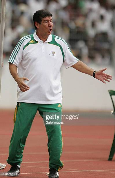 Joel Natalino Santana manager of South Africa reacts during the AFCON and 2010 World Cup Qualifier between Nigeria and South Africa at Abuja Stadium...