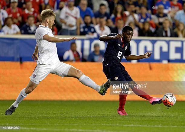 Joel Nathaniel Campbell of Costa Rica in action against the the United States during the first half at Red Bull Arena on October 13 2015 in Harrison...