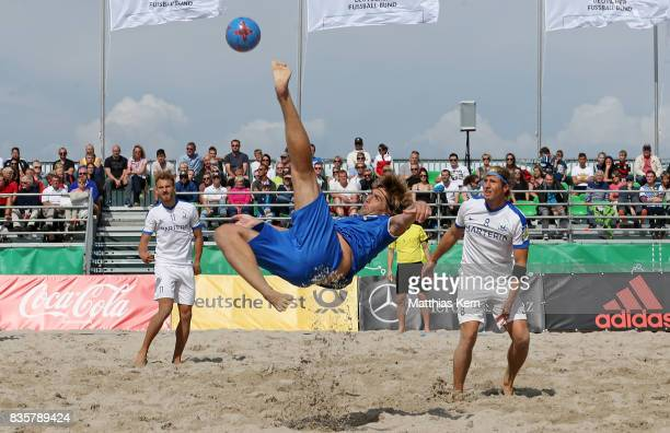 Joel Nisslein of Berlin plays the ball during the half final match between Hertha BSC and Rostocker Robben on day 2 of the 2017 German Beach Soccer...