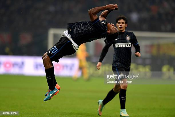Joel Obi of FC Internazionale celebrates after scoring the first goal during the Serie A match between AC Milan and FC Internazionale Milano at...
