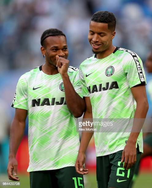 Joel Obi of Nigeria talks to Tyronne Ebuehi of Nigeria during warm up prior to the 2018 FIFA World Cup Russia group D match between Nigeria and...