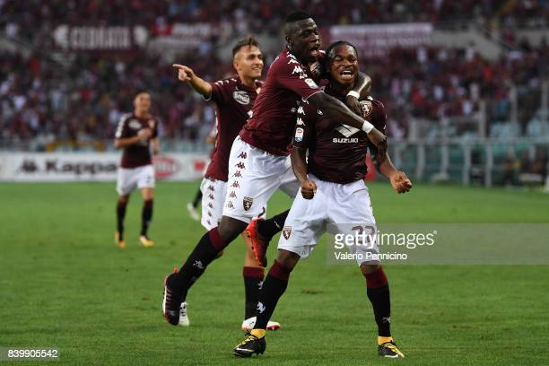 Joel Obi of Torino FC celebrates after scoring a goal with team mate Afriyie Acquah during the Serie A match between Torino FC and US Sassuolo FC at...