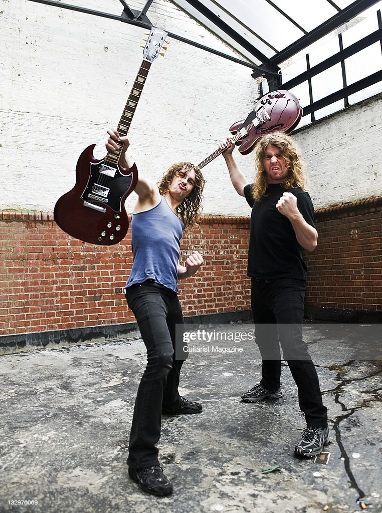 Joel O'Keefe (L) and David Roads of Airbourne, session for Guitarist Magazine, February 18, 2010.