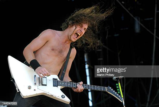 Joel O'Keefe of Airbourne performs on stage at the Melbourne Big Day out at Flemington racetrack on Sunday 30th January 2011 in Melbourne Australia