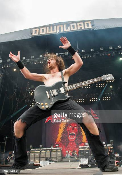 Joel O'Keeffe lead singer of Airbourne performing live on Day 3 of Download Festival at Donington Park on June 11 2017 in Castle Donington UK