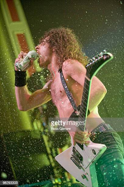Joel O'Keeffe lead singer of Airbourne performs on stage at O2 Academy on April 6 2010 in Glasgow Scotland