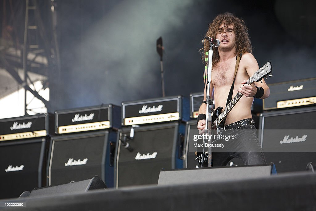Joel O'Keeffe of Airbourne performing on stage at Hellfest Festival on June 19, 2010 in Clisson, France.