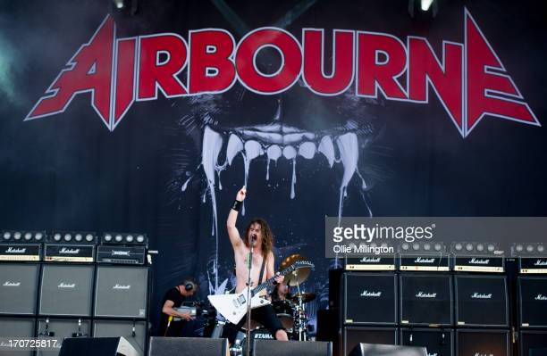 Joel O'Keeffe of Airbourne performs at Day 3 of The Download Festival at Donnington Park on June 16 2013 in Donnington England