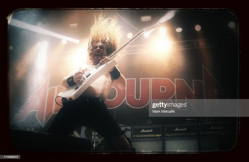 Joel O'Keeffe of Airbourne performs for fans on day 3 of the 2013 Splendour In The Grass Festival on July 28, 2013 in Byron Bay, Australia.