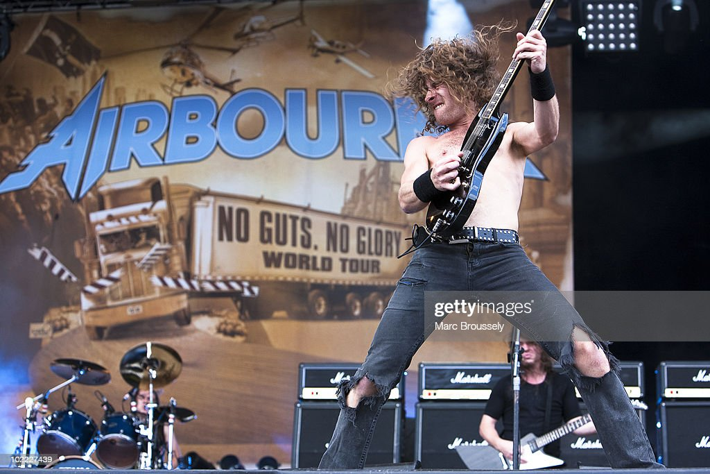 Joel O'Keeffe of Airbourne performs on stage at Hellfest Festival on June 19, 2010 in Clisson, France.