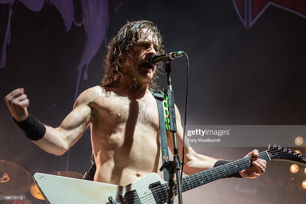 Joel O'Keeffe of Airbourneof Black Stone Cherry performs at LG Arena on October 30, 2014 in Birmingham, England.
