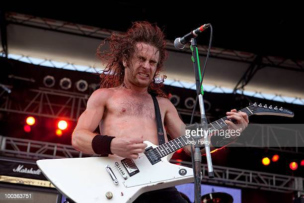 Joel O'Keeffe of Australian hard rock band Airbourne performs during the 2010 Rock On The Range festival at Crew Stadium on May 23 2010 in Columbus...