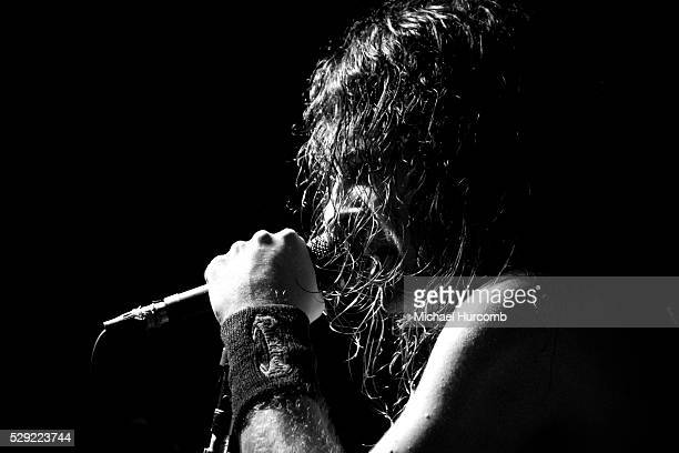 Joel O'Keeffe singer of the Australian hard rock band Airbourne performs at the Historic Red Dog in Peterborough Ontario