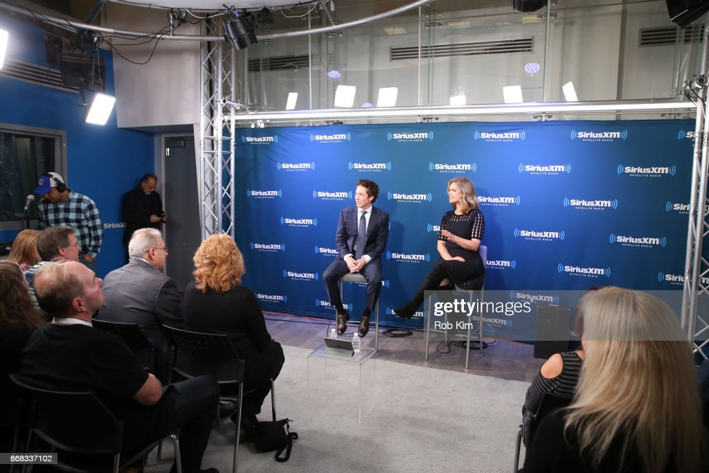 Joel and Victoria Osteen Host a Special Edition of Sirius XM's Joel Osteen Live from Sirius XM Studios in New York City on Monday, October 23, 2017 : News Photo