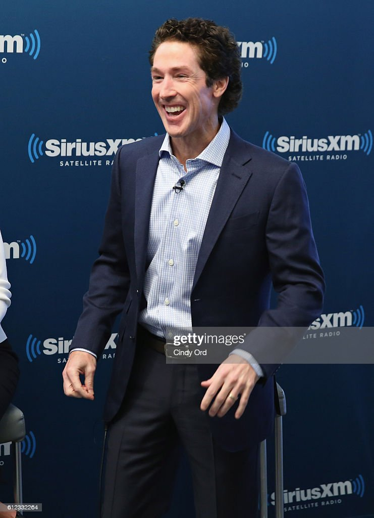 Joel Osteen greets guests during 'Joel Osteen Live' featuring Joel and Victoria Osteen with special guests Fr. Ed Leahy, A. J. Calloway and Matt and Laurie Crouch at SiriusXM Studios on October 3, 2016 in New York City.