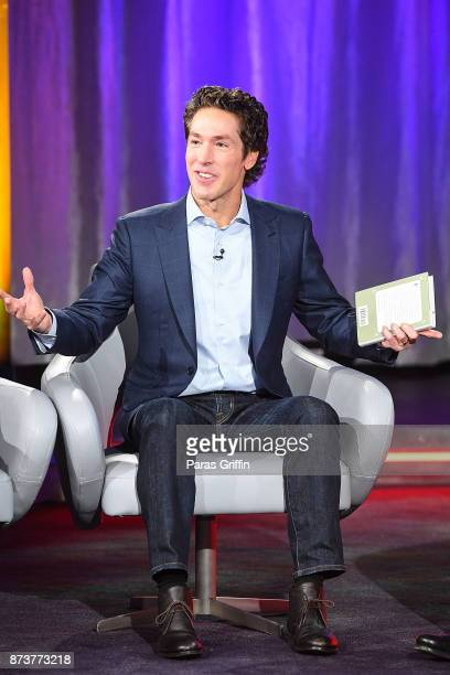 Joel Osteen onstage during a SiriusXM 'Town Hall' event hosted by Joel Victoria Osteen at Tyler Perry Studios on November 13 2017 in Atlanta Georgia
