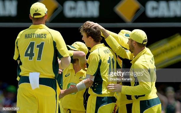 Joel Paris of Australia celebrates with team mates after taking a wicket during game two of the Victoria Bitter One Day International Series between...