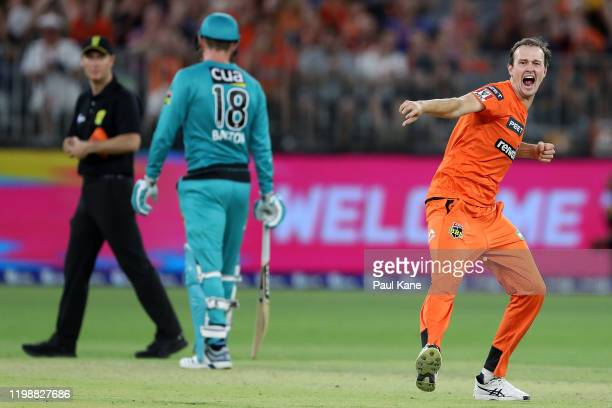 Joel Paris of the Scorchers celebrates the wicket of Matt Renshaw of the Heat during the Big Bash League match between the Perth Scorchers and the...