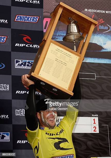 Joel Parkinson of Australia celebrates after winning the Rip Curl Pro on April 17 2009 in Bells Beach Australia