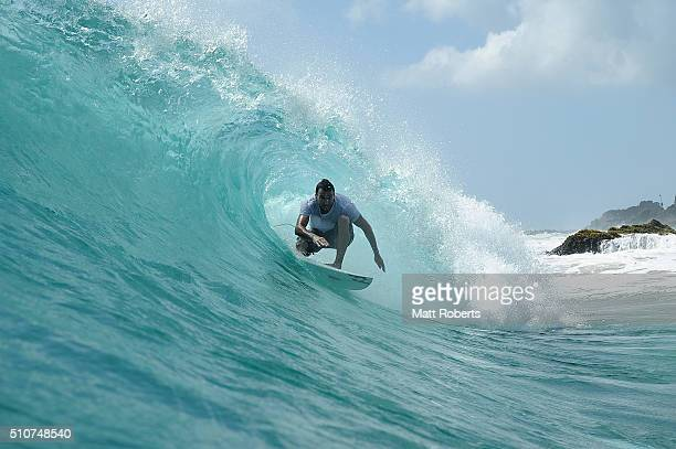 Joel Parkinson surfs at Snapper Rocks ahead of this month's Gold Coast Quiksilver Pro on February 17 2016 on the Gold Coast Australia