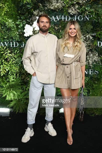 Joel Patfull and Elle Ferguson attend the David Jones Spring Summer 18 Collections Launch at Fox Studios on August 8 2018 in Sydney Australia