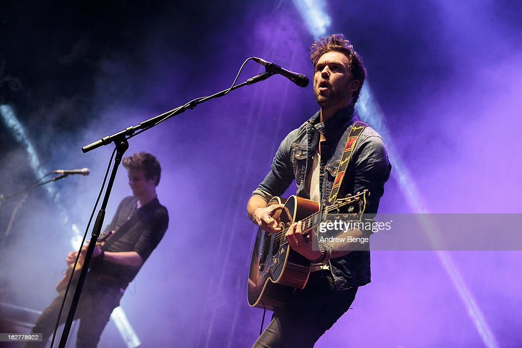 Joel Peat and Andy Brown of Lawson perform on stage at O2 Academy on February 26, 2013 in Leeds, England.