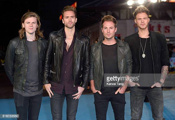 Joel Peat Andy Brown Adam Pitts and Ryan Fletcher of Lawson arrive for the European premiere of 'Eddie The Eagle' at Odeon Leicester Square on March...
